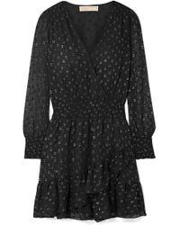 MICHAEL Michael Kors - Ruffled Wrap-effect Fil Coupé Chiffon Mini Dress - Lyst