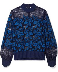 Sea - Ribbed Cotton-trimmed Guipure Lace Sweatshirt - Lyst