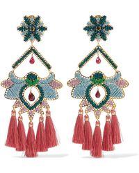 Mercedes Salazar - Tropics Tasseled Gold-tone Beaded Clip Earrings - Lyst
