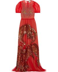 Gucci - Tiger Embroidered Tulle Gown - Lyst