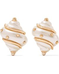 Kenneth Jay Lane - Gold-plated Faux Pearl Clip Earrings - Lyst