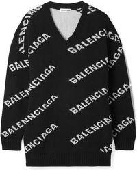 Balenciaga - Oversized Logo Wool Jacquard Cardigan - Lyst
