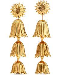 Oscar de la Renta - Tiered Flower Gold-tone Clip Earrings - Lyst
