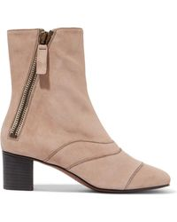 Chloé - Lexie Crosta Paneled Suede Ankle Boots - Lyst