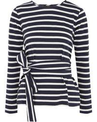 J.Crew | Striped Cotton-jersey Top | Lyst