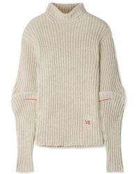 Victoria Beckham - Embroidered Ribbed Wool Turtleneck Sweater - Lyst