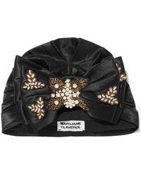 MaryJane Claverol Yoshiko Faux Pearl-embellished Embroidered Satin Turban - Black