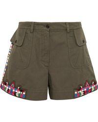 Valentino - Embellished Cotton-twill Shorts - Lyst