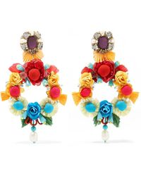 Ranjana Khan - Lovebird Mother-of-pearl, Raffia And Crystal Clip Earrings - Lyst