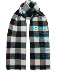 Acne Studios Cassiar Printed Checked Wool Scarf - White