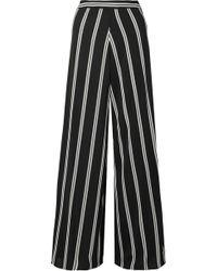 Alice + Olivia | Athena Striped Georgette Wide-leg Pants | Lyst