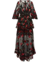 Alice McCALL - Marigold Guipure Lace-trimmed Embroidered Tulle Maxi Dress - Lyst