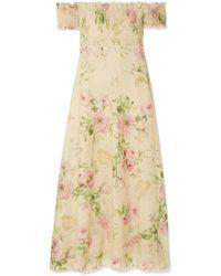 Zimmermann - Iris Off-the-shoulder Floral-print Linen-blend Maxi Dress - Lyst