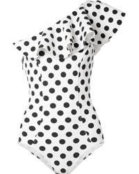 Lisa Marie Fernandez - Arden Ruffled One-shoulder Polka-dot Bonded Swimsuit - Lyst
