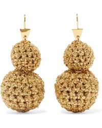 Lucy Folk - Rock Formation Gold-plated And Lurex Earrings - Lyst