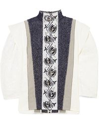 Chloé - Embellished Embroidered Linen, Tweed And Canvas Blouse - Lyst