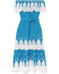 Miguelina - Lisselle Off-the-shoulder Crocheted Polka-dot Cotton Dress - Lyst