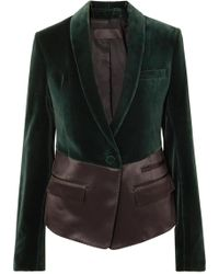 Haider Ackermann - Two-tone Satin And Velvet Blazer - Lyst