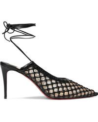 Christian Louboutin - + Roland Mouret Cage And Curry Mesh And Woven Leather Court Shoes - Lyst