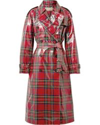 Burberry - Coated-tartan Wool Trench Coat - Lyst