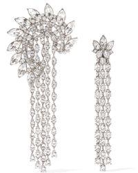 Oscar de la Renta - Silver-plated Crystal Earrings - Lyst
