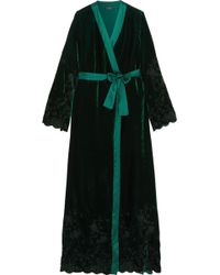 I.D Sarrieri - Nuits A Moscou Satin-trimmed Embroidered Velvet Robe - Lyst