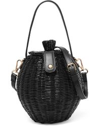 Ulla Johnson - Tautou Mini Leather-trimmed Wicker Shoulder Bag - Lyst