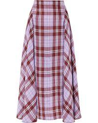 Victoria Beckham - Pleated Checked Crinkled-taffeta Skirt - Lyst