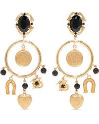 928fcdacc Dolce & Gabbana Gold-plated Resin Clip Earrings in Metallic - Lyst