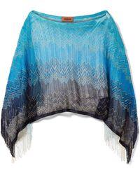 Missoni - Fringed Metallic Crochet-knit Poncho - Lyst