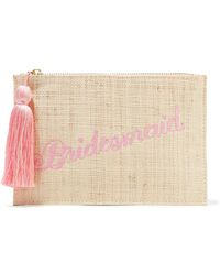 Kayu - Bridesmaid Embroidered Woven Straw Pouch Clutch Bag  - Lyst