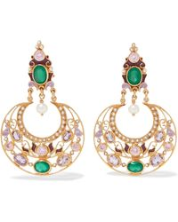 Percossi Papi - Gold-plated And Enamel Multi-stone Earrings - Lyst