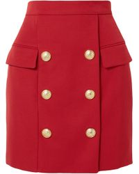 Balmain - Button-embellished Wool-piqué Mini Skirt - Lyst
