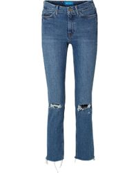 M.i.h Jeans - Daily Frayed High-rise Straight-leg Jeans - Lyst