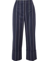 Oscar de la Renta - Cropped Striped Wool-blend Wide-leg Trousers - Lyst