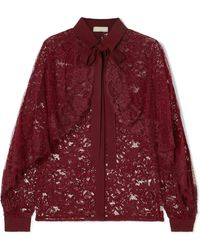Elie Saab - Cape-effect Lace And Swiss-dot Tulle Blouse - Lyst
