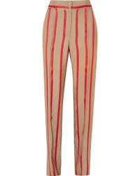 Etro - Striped Satin-twill Wide-leg Trousers - Lyst