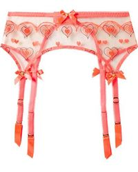 Agent Provocateur - Perdia Embroidered Tulle Suspender Belt - Lyst
