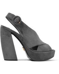 Prada - Suede Platform Sandals - Lyst