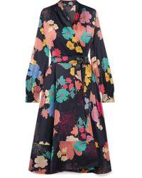Stine Goya - Reflection Floral-print Silk-blend Satin Wrap Dress - Lyst