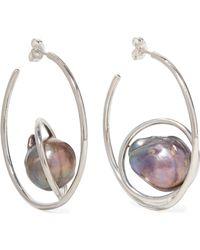 Closer by Wwake - Orbital Silver Pearl Earrings - Lyst