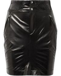 Isabel Marant - Amel Ribbed Knit-trimmed Coated-silk Mini Skirt - Lyst
