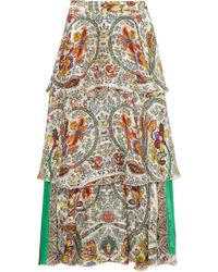Etro - Tiered Printed Silk-jacquard Maxi Skirt - Lyst