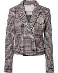 Adam Lippes - Cropped Embellished Harris Tweed Blazer - Lyst