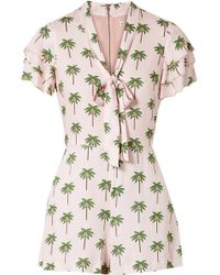 Alice + Olivia - Macall Pussy-bow Printed Washed-crepe Playsuit - Lyst
