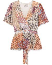 Paul & Joe - Wrap-effect Floral-print Silk-chiffon Top - Lyst