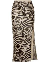 Anine Bing - Dolly Zebra-print Silk-satin Midi Skirt - Lyst