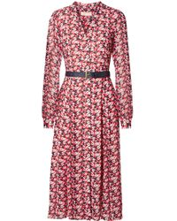 MICHAEL Michael Kors - Belted Floral-print Crepe Midi Dress - Lyst