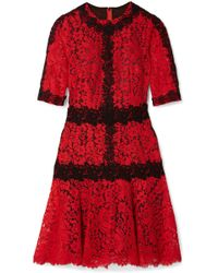 Dolce & Gabbana | Cotton-blend Corded And Guipure Lace Mini Dress | Lyst