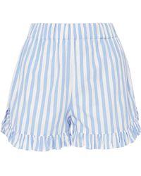 Ganni - Swimton Ruffled Striped Cotton Shorts - Lyst